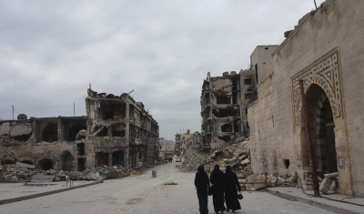 Syria,  Aleppo, great Umayyad mosque. Destructions.