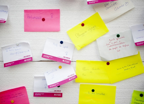 Post-it on a wall with job titles