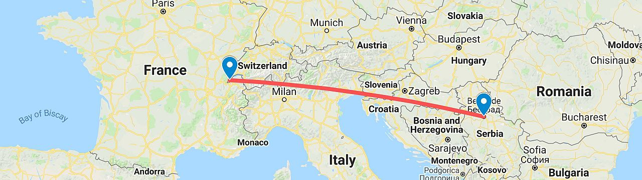 Map showing flight route from Geneva to Belgrade