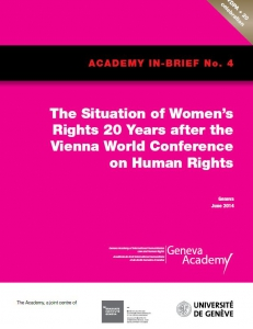 Cover of the In-Brief No.4: The Situation of Women's Rights 20 Years after the Vienna World Conference on Human Rights