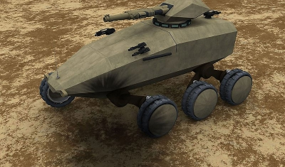 A computer graphic simulation of a Future Protected Vehicle